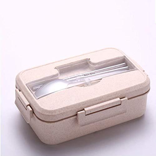 LeakProof Bento Boxen, lunchbox, tarwe natuur, 1 l, veiligheidscontainer, met stokjes, lepel, voor kinderen en volwassenen, in de magnetron Beige