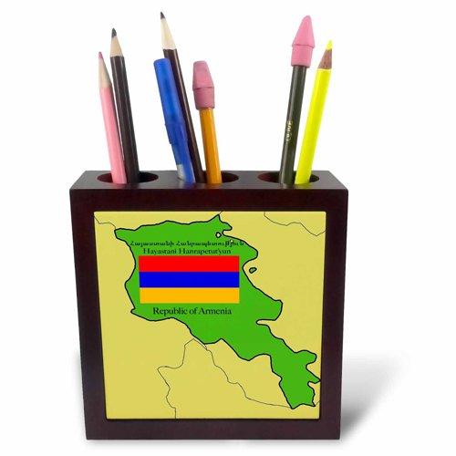 3drose PH 47320 1 kaart en vlag van Armenië met de Republiek Armenië Gedrukt in het Engels en Armenian Tile Penhouder, 12,7 cm