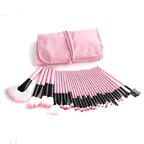 Make Up Brush Set Professional 32 pcs, pinceaux de maquillage Fondation lèvres brosse oeil brosse visage brosse Pinceau fard à paupières avec un sac en nylon noir,Rose