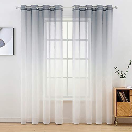 MIULEE Sheer Vorhang Voile Farbverlauf Dekoschal Vorhänge mit Ösen transparent Gardine 2 Stücke Ösenvorhang Gaze paarig Fensterschal für Wohnzimmer 225 cm x 140 cm(H x B) 2er-Set Grau-weiß