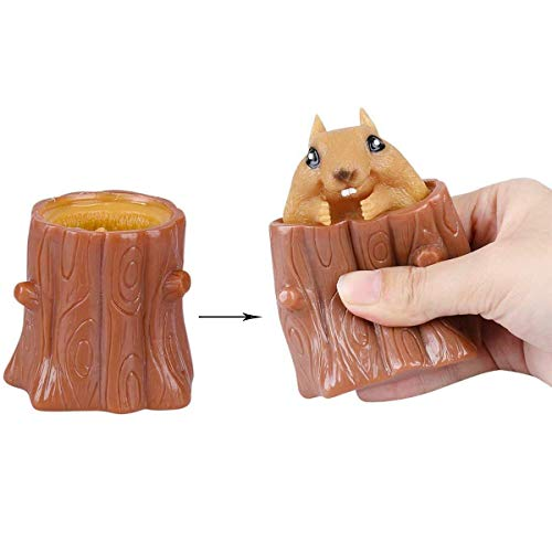 2 PCS Set Squeeze Squirrel Toys Decompression Evil Squirrel Cup, Sensory Fidget Toys, Squishes Toy Stress Relief for Kids & Adult Tricky Funny Squeeze Toys