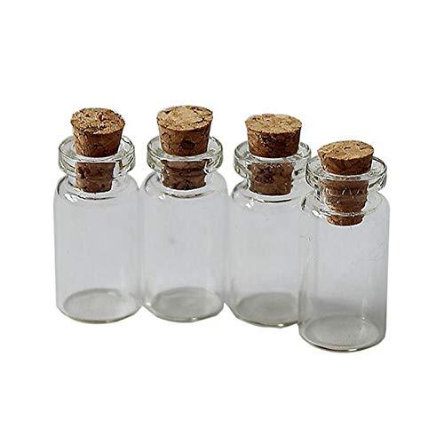 WCNMB Botella de Almacenamiento 10 unids Botellas de Vidrio pequeñas con Corcho Transparente Traseros de tapón Tiny Boda Frascos 24x12mm Mensaje Favor de Joyería Conveniente y...