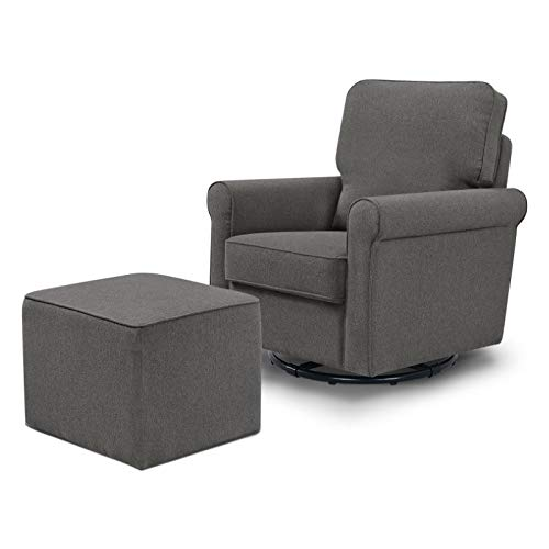 DaVinci Maya Swivel Glider with Ottoman, Dark Grey