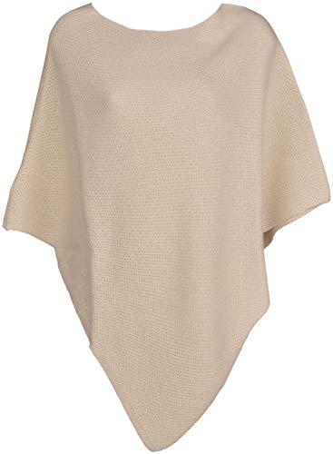 styleBREAKER Damen Feinstrick Poncho einfarbig, Ärmellos, Rundhals, Cape, Überwurf, Strickponcho, Einheitsgröße 08010078, Farbe:Beige