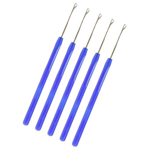 dailymall 5 Pièces Professionnel Tirant Crochet Crochet Aiguille Outils Pour Micro Anneaux Extensions De Cheveux - Bleu