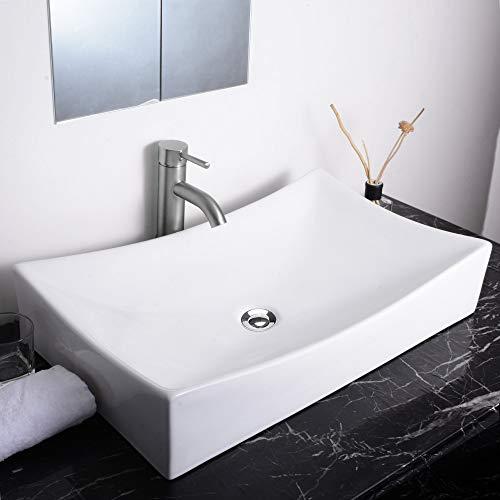 Aquaterior Rectangle White Porcelain Ceramic Bathroom Vessel Sink Bowl Basin with Chrome Drain 26'x15-5/8'x5-1/3'