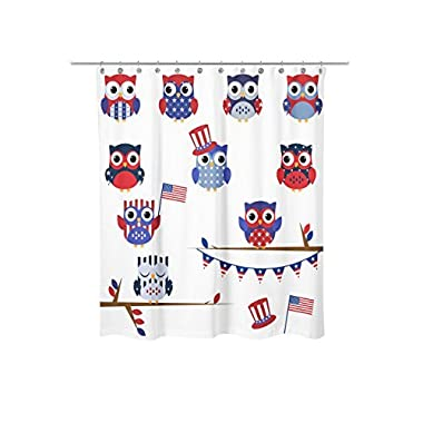 Newing Shower Curtain - Fourth of July Patriotic Owls pattern - Mildew resistant - Machine Washable - Shower Hooks are Included