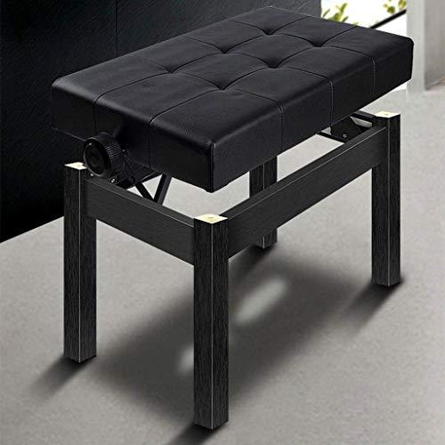 LAAMY Piano Tipo Taburete de Piel Banqueta Banco for Piano Ajustable, Asiento Acolchado de Cuero de PU Suave Negro, 56x34,5X 44-54 cm (Color : Black)