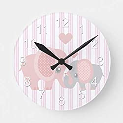 Pattebom Beautiful Baby Girl Pink Elephant Wood Wall Clocks Silent Non Ticking for Bedrooms Living Room Nursery Kids Room Birthday Housearming Gifts 12in