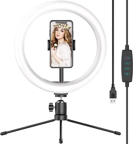 """AGM 10""""Led Luce ad Anello, con treppiede Selfie Ring Light, dieci regolazioni di luminosità, tre modalità di temperatura colore e un telecomando Bluetooth, Supporta Tik Tok/YouTube/Trucco"""