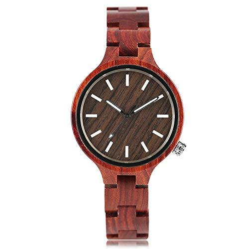 IOMLOP Reloj de Madera Relojes creativos de Madera de Moda para Mujer Reloj de Pulsera de bambú Hecho a Mano para Mujer Reloj de Cuarzo con Correa de Madera Completa, 1