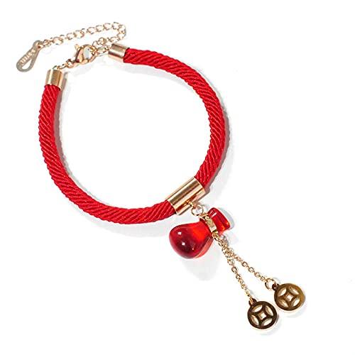CHWEI Knitted Hat Pulseras para Mujer Pulsera con Dijes Rojos para Mujer Acero De Titanio Brazalete Chapado En Oro Rosa De 18 K Bolsa De Dinero De La Suerte Adornos De Mano Joyería A
