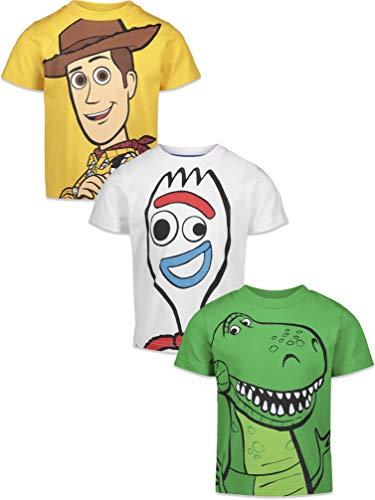Disney Pixar Toy Story Woody Rex Forky Little Boys 3 Pack Short Sleeve T-Shirt 7-8