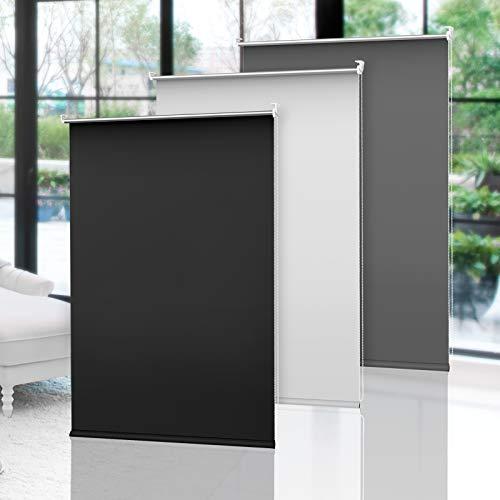 OBdeco Verdunkelungsrollo Klemmfix Thermo Rollo 95×160cm Schwarz ohne Bohren Silberbeschichtung Sichtschutz Seitenzugrollo für Fenster