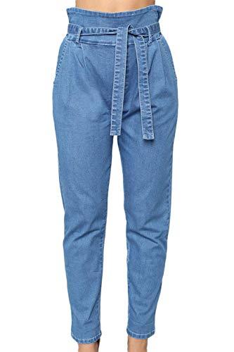 Laisla fashion Pantalones De Mujer Bolsa De Papel Lápiz Clásico Oficina Capris Pantalones Vaqueros Casuales...