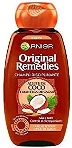 Garnier Original Remedies - Champú Disciplinante con Aceite de Coco y Manteca de Cacao para Pelo Rebelde y Difícil de Alisar - 600 ml
