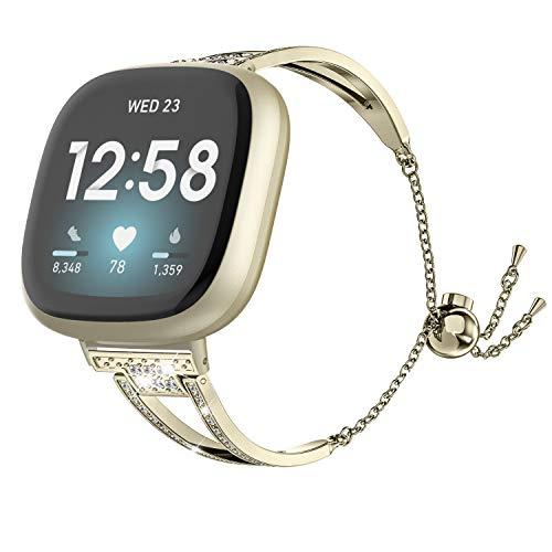 Wearlizer Kompatibel mit Fitbit Versa 3 / Sense-Bändern für Frauen, Elegantes Metall-Ersatzarmband Armbandzubehör Bling Strassarmband Armreif-Armband für Versa 3 / Sense (Gold)