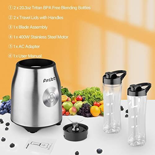 Arcbt Professional Smoothie Blender, 400W Countertop Blender with 2 x 20.3oz Tritan BPA-Free Travel Blender Bottles, Mini Single Serve Personal Blender for Shakes, Juice and Baby Food, Silver