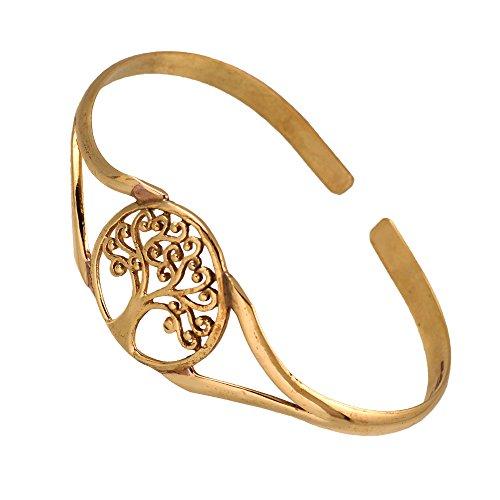 Chic-Net Messing Armreif antik golden oval Baum des Lebens rund verstellbarTribal Schmuck