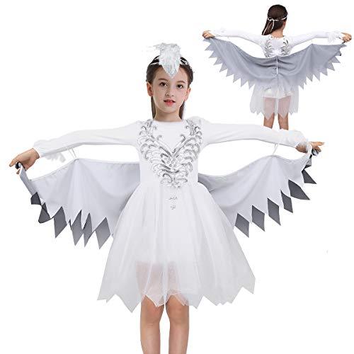 YOOJIA Mädchen Schwan Kostüm Ballettkleid Glänzend Pailletten Tutu Kleid mit Flügel Kinder Vogel Cosplay Kostüm Weiss Tanzkleid Karneval Fasching Weiss 110-116/5-6 Jahre
