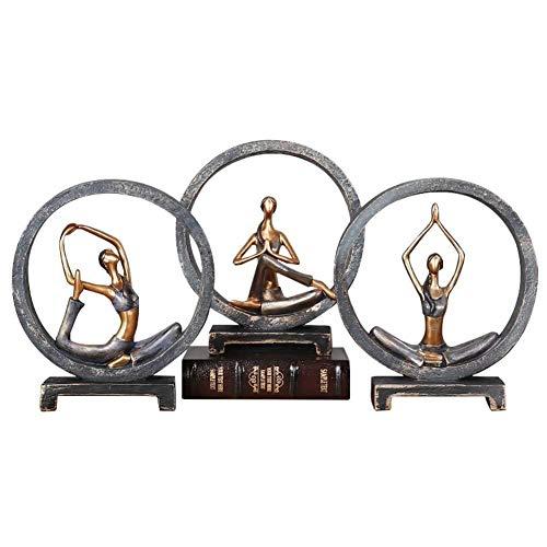 DFGER Esculturas del carácter Ornamentos, Ornamentos de la Yoga de decoración del hogar Resina artesanías de Resina Adornos Decoración-A 10.8inch, Decoración B, 10.8inch