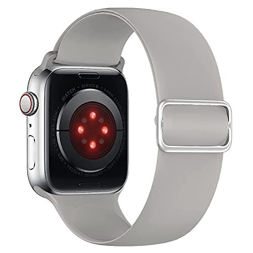 Tasikar Compatible con Correa Apple Watch 44mm 42mm, Pulseras de Repuesto de Silicona Suave, Correas Deportiva Elástica Ajustable Compatible con Apple Watch SE Series 6 5 4 3 2 1 (Gris Nublado)