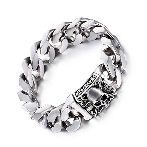 Vintage 3D Skull Bracelet Fashion Stainless Steel Chain Men's Steel Chain Gothic Polished Beads Skull Bracelet - -