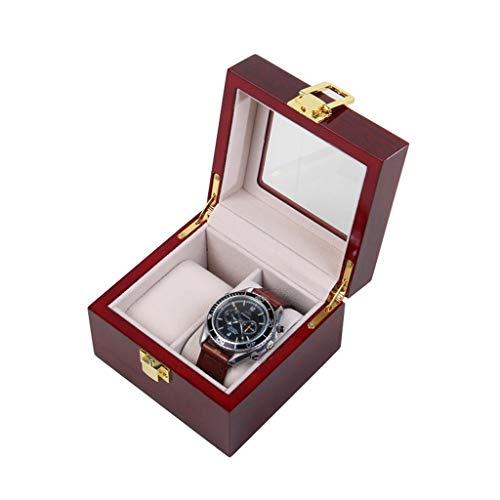 WCX Uhrenaufbewahrung Uhrenbox Schmuck Armbandkollektion Schmuckkästchen 5 Holzgitter Mit Glasdeckel Und Abnehmbaren Weichen Kissen (Size : 12.2x11.9x8.8cm)