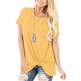 Yidarton Women's Comfy Casual Twist Knot Tunics Tops Blouses Tshirts
