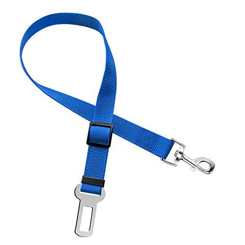 ペット リード 犬 猫 シートベルト 安全ベルト 車専用リード 飛びつく防止 簡単装着 (ブルー)
