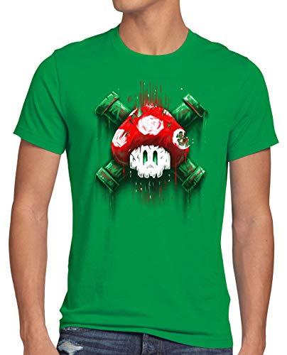 style3 Mario Calavera Camiseta para Hombre T-Shirt Videojuego Switch Super World, Talla:XL, Color:Verde