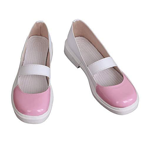 Xiao Maomi Monika Sayori Yuri Natsuki Uniform Shoes Cosplay Costume Women Sailor Suit Outfit Full Set (US Women 8.5, Pink Shoes)