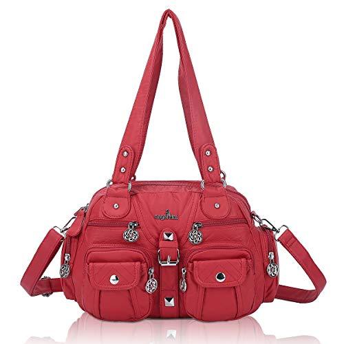 angel kiss Damenhandtasche Schultertaschen Umhängetasche Multifunktionale Rucksack Weiches PU Leder mit Reißver Schlusstaschen Elegante große Damenumhängetasche für Büro Schule Einkauf Rot