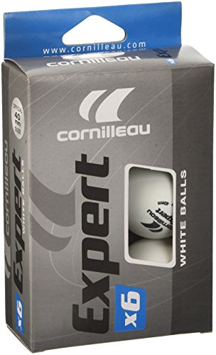 Cornilleau Expert Table Tennis Balls - Pack of 6, Color- White