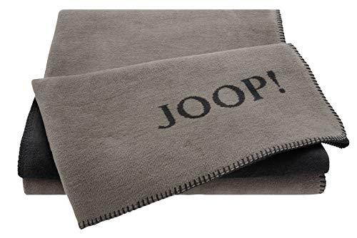 Joop!® Uni-Doubleface I flauschig-weiche Kuscheldecke Taupe-Anthrazit I Wohndecke aus Baumwolle in braun I Tagesdecke 150x200cm | nachhaltig produziert in Deutschland I Öko-Tex Standard 100