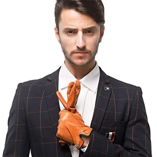 Nappaglo hombres cuero Nappa de piel de cordero italiano Guantes Guantes calientes de pantalla tactil con líneas de color (L (Palm: 19-20.3cm), naranja (no táctil))