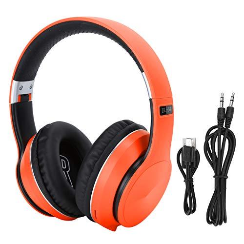 Agatige Auriculares Bluetooth Montados en la Cabeza, Modo de Radio de Soporte de Auriculares Deportivos Estéreo Plegables(Naranja)