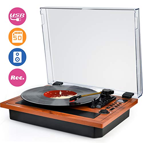 Turntable Vinyl Record Player Support Wireless in & Out Record Player Built in...