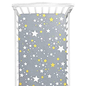 AOFITEE Fitted Crib Sheet, 100% Cotton Cozy Breathable Baby Crib Sheets for Standard Crib and Toddler Mattress, Stars Printed Nursery Bedding for Boys Girls