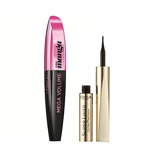 L'Oréal Paris Mega Volume Collagen Mascara Miss Manga, black, 1er Pack (1 x 8,5 ml) + L'Oréal Paris Super Liner Ultra Precision Eyeliner 01, schwarz