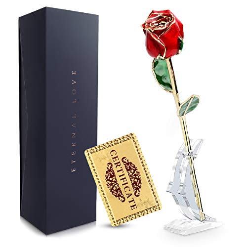 24k Gold Rose, Real Plated Rose Dipped Roses Flower with Crystal Stand, Best Gifts for Her Wife Girlfriend Women, Anniversary, Mothers Day, Birthday, Valentine's Day (Red)
