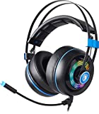 SADES USB Gaming Headsets Armor Realtek Gaming Audio Lightweight Computer Headset Over-Ear-Headphones with Noise Isolating Microphone & Volume Control & RGB Light for Windows