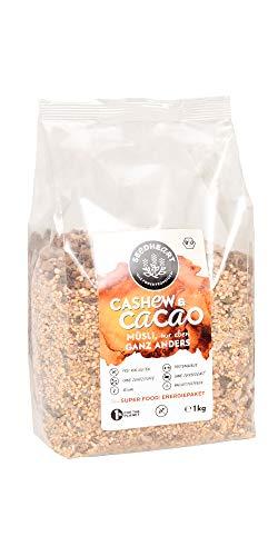 Seedheart Cashew & Cacao 1kg Bio Saaten-Kerne-Müsli Kakaonibs Cashew Quinoa | Glutenfrei | Kein Getreide | Ohne Zucker | Superfood