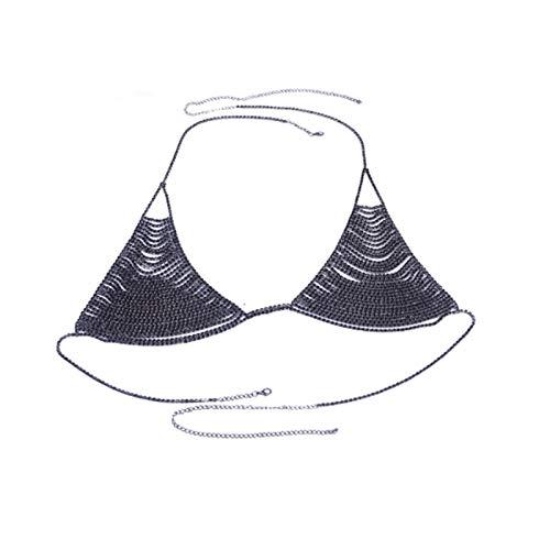 LOEY Damen Body BH Kette Bikini Body Schmuck Accessoires (Farbe: Schwarz, Größe: BH)