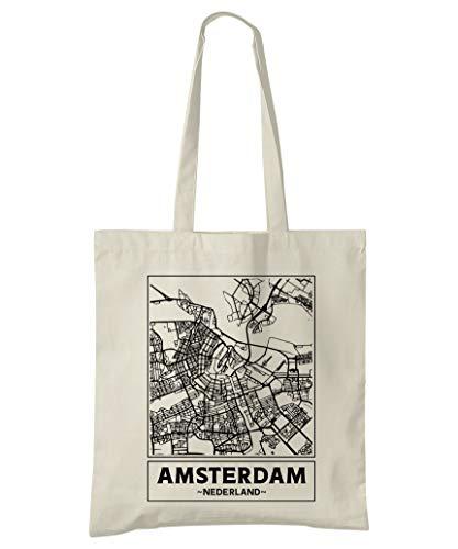 Super Cool Totes Amsterdam, Niederlande, Stadtplan Einkaufstasche (Design 1)