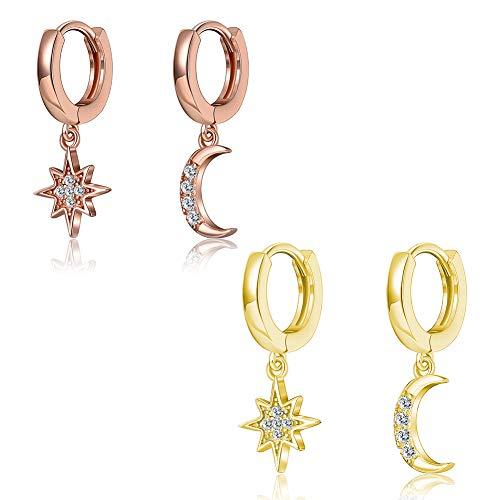 INTVN Colgantes única asimétrica Rhinestone Pendientes Aro con Colgante de Luna y Estrella Redondos Pendientes de aro Pequeños Pendientes para Mujer(2 Pares)