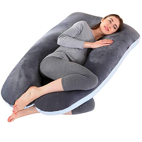 SHANNA Grand oreiller de grossesse en forme de U 100% coton avec housse en velours remplaçable et lavable pour nuit et allaitement 70x 145cm