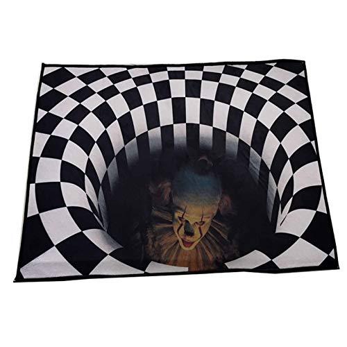 NgMik 3D Vision Teppich 3D bedruckter Teppich Home Wohnzimmer Schlafzimmer Nachttisch Couchtisch Eingang Türmatte Lustige Bodenmatte Rutschfester Teppich (Color : Black, Size : 50x80cm)