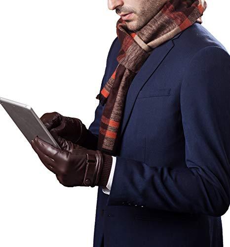 YISEVEN Herren Lederhandschuhe Gefüttert Touchscreen Warm Echtleder Handschuhe Lederhandschuhe Lammfell Autofahrerhandschuhe Herrenhandschuhe Männer Autohandschuhe Geschenk, Braun XXXL/11.0