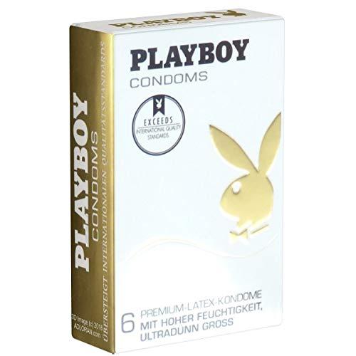 PLAYBOY CONDOMS Premium Latex Kondome Ultradünn & Groß (60mm Breite), 1 x 6 Stück
